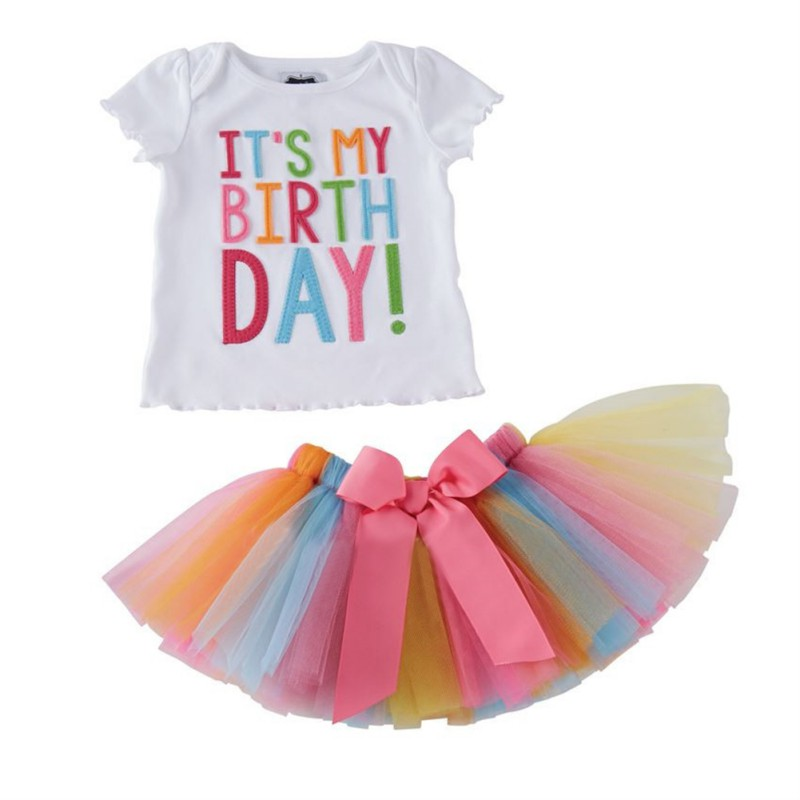 2017 Newest Baby Kids Girls Summer Tutu Dress Letter Print Shirt+Colorful Bow Skirt Outfits Set Birthday Gift For 1-6Y<br><br>Aliexpress