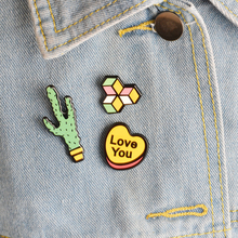 "Fashion Cartoon Building Blocks And Heart Shape ""Love you"" Cactus Set Collar Button Pins Jewelry For Women Children Gift"
