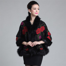 Print fur Coat Women Knitted Fox Fur coats Vest Imitation Fur jacket Batwing Sleeve Plus Size warm Female Artificial fur coats
