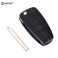 KEYYOU New 3 Buttons For Ford Focus Fiesta 2013 Fob Case with HU101 Blade Flip Folding Remote Key Shell Fob Case(China)