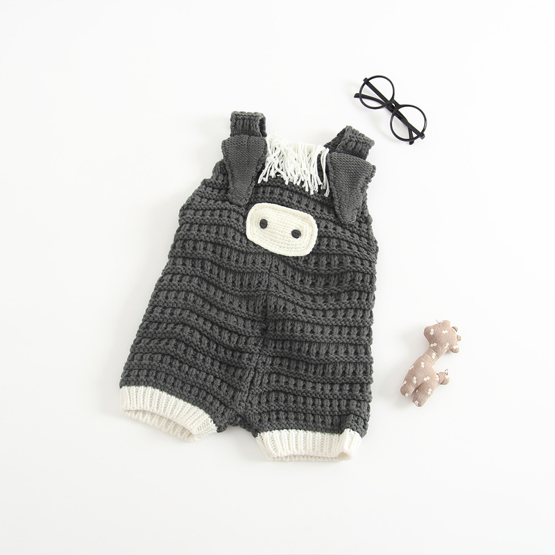 Newborn Baby Cotton Rompers Knitting Crochet Pig Costumes Overalls Clothes For Toddler Infant Boys Girls Jumpsuits Clothing (2)