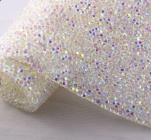 Free ship,BlingBling rhinestone self ADHESIVE sheet or HOTFIx to fabric rhinestone Decor Mesh Roll for wedding clothes white AB(China)