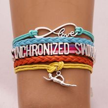 Drop Shipping Infinity Love Synchronized Swimming Bracelet & Bangles Swimmer Charm Braid Leather Bracelet Jewelry Rainbow Color(China)