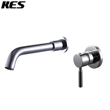 "KES Wall Mount Bathroom Faucet Single Handle Lavatory Sink Faucet 1/2"" IPS BRASS Body and Stainless Steel Spout Chrome, L3202"