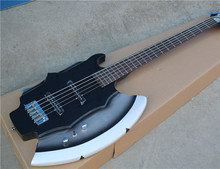 Hot Sale Custom 5-String Bass Guitar with Axe Signiture and Shape,2 Open Pickups,Chrome Hardware,can be Customized