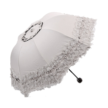 FJS!Women's Princess Dome/Birdcage Sun/Rain Folding Umbrella For Wedding Lace Trim beige