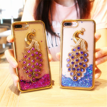 New beautiful peacock pattern Colorful Dynamic star Quicksand Case For iphone 7 7 plus 6 6s 6 plus 6s plus plating TPU cover