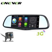 "Onever 7"" 3G Car Rear View Mirror DVR Camera Android 5.0 GPS Bluetooth 4.0 Wifi Camcorder Dual Lens Automobile Video Recorder(China)"