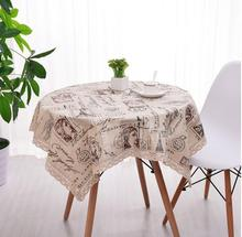 Rectangular British people TableCloth 7sizes Italic words Tower Cotton And Linen Dust Tea Table Cloth Cover Home Decoration