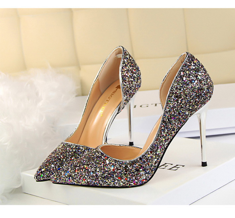 Women Pumps Sexy Glisten Women Shoes Wedding Party Dress Heels Women Hollow Shallow Mouth High Heels Stiletto 868-8 18