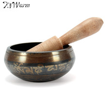 Vintage Tibetan Buddhist Brass Chakra Singing Bowl Yoga Meditation Healing Wood Hammer for Home Garden Room Decoration(China)