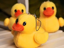 Super Kawaii NEW The Yellow Duck 7*5CM Plush Stuffed TOY DOLL , Small Phone Charm Strap Pendant Lanyard DOLL , BAG Key Chain TOY