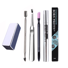 BORN PRETTY 5 Pcs Nail Remover Tool Set Cuticle Pusher Fork Cuticle Essential Oil Nail Buffer Tool Set Oil Random Color(China)