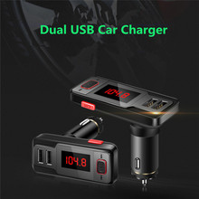 Dual USB Output Bluetooth FM Transmitter Wireless Hands-free Audio MP3 Player Radio Car Elegant 2017 Car accessories car-styling(China)