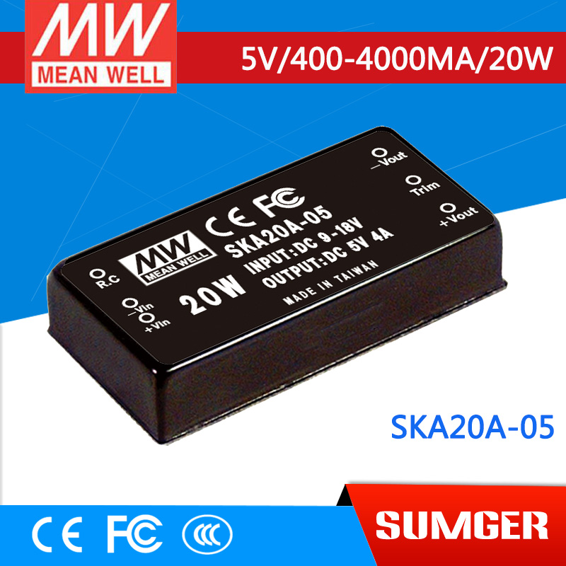 NEW [Sumger] MEAN WELL original SKA20A-05 5V 4000mA meanwell SKA20 5V 20W DC-DC Regulated Single Output Converter<br><br>Aliexpress