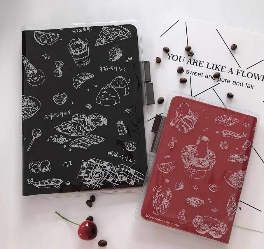 A5 A6 Transparent hobonichi pvc protect cover set notebook  bookbinder's protective case week use pizza sushi