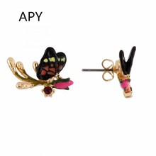 APY Fashion Stud Earrings Little Butterfly Ear Pins Spring Fresh Style Rhinestones Jewelry Gifts for Women(China)