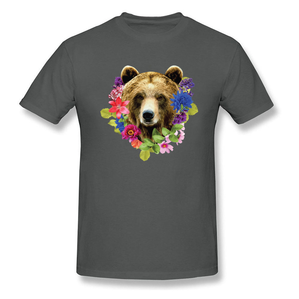 Floral Bearr Mens Fied Classic Tops T Shirt Round Collar Lovers Day Coon T-shirts Summer Short Sleeve Sweatshirts Floral Bearr carbon