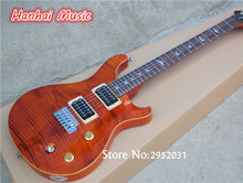 Hot Sale Custom Electric Guitar,Orange Color,Flame Maple Veneer,Bird Fret Marks Inlay,24 Frets,2 Open Pickups,can be Customized