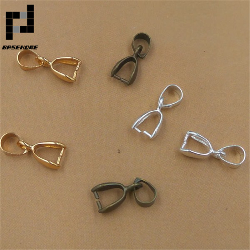 BASEHOME 50pcs/lot Melon Seeds Buckle Pendant Clasps Hook Bail Clip Jewelry Charm Pendant Connectors DIY Jewelry Making
