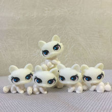 1pcs Free shipping small pet shop super cute classic white cat lps toy action toy figures 5CM PVC(China)