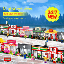 Mini Street Model Store Shop with Coca Cola Pizza Nike Building Block Toys Compatible with Lego Hsanhe(China)