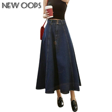 NEW OOPS Long Blue Denim Jeans Skirts Womens New Arrival Autumn Winter Retro A Line Pleated Flared High Waist Saias B1508264