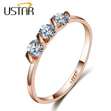 Buy USTAR Crystals engagement rings women AAA Cubic Zirconia Rose Gold color Wedding ring female Anel fashion Jewelry gifts for $2.30 in AliExpress store
