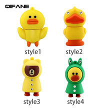QIFANE Creative U Disk 16G pen drive Lovely duck USB Flash Drive 32GB 64G 4G 8G Cartoon Chick memory stick Free shipping
