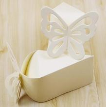 10x6.5x6cm 100pcs Small Trianglee butterfly paper candy chocolate gift box wedding party favor gift box white cardboard box(China)