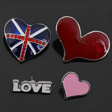 Set of 4 Pieces Enameled Union Jack Red Heart and LOVE Brooches or Lapel Pins for Garments Bags Scarfs or Heels