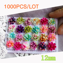 Tanduzi 1000PCS Mixed Color Layered Daisy Flower Resin Flower Flatback Cabochon Scrapbooking DIY Phone Hair Decoration 12mm