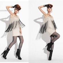 Women 2013 Fashion Mini Casual One Shoulder Tassel Sexy One-Piece Dress Black White Color(China)