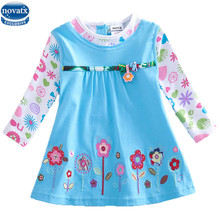 novatx H2762 baby girls long sleeve flower dress children clothes frocks autumn/spring child wear floral dress girl high quality(China)
