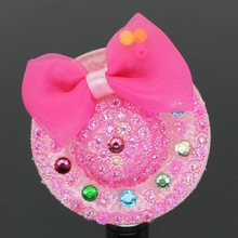 Size 49mm straw hat with full of Rhinestones Hair Clips For Girls , Girl hairpins of Fashion hairclip ,Bow hat Hair clip(China)