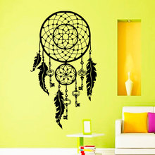 Art Design Dream catcher Vinyl Wall Sticker For Living Room Feathers Night Symbol Indian Decal Bedroom Dream Catch Home Decor