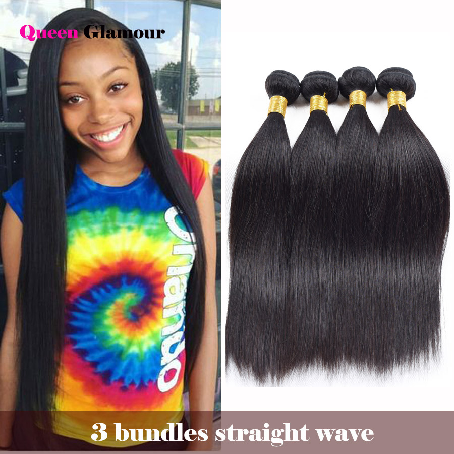 Queen Glamour 8A Brazilian Virgin Hair Straight 3 Bundles Mink Brazilian Hair Weave Bundles Brazilian Straight Hair Extensions<br><br>Aliexpress
