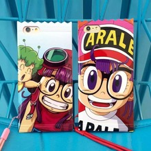 Japan Cartoon Cute Arale Candy TPU Case Cover With Lanyard For Iphone 6Plus 5.5inch(China)