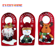 Happy New Year 1x Santa Claus Snowman Elk Doorknob Hanging Christmas Ornament Wedding Decorations for Home Supplies SD62(China)