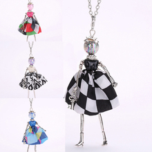 YLWHJJ new girl doll cute long chain necklace black pendant women baby maxi necklace colorful princess hot fashion brand jewelry