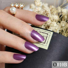 24pcs new product sales long small round Rose Purple oval head fake nail fit comfortable DIY nail candy color R26 010B