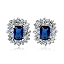 Jemmin Fine Quality Luxury 1.5ct Created Blue Sapphire Stud Earrings Pure Sterling Silver Jewelry Wedding Engagement Earrings(China)