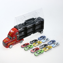 12pcs/lot Original Kids Model Car Toy Plastic Big Container Truck with Alloy Diecast Car Mini Pull Back Cars Toy Gift for Child