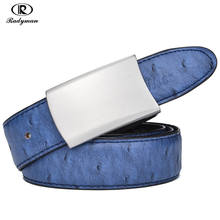 RADYMAN Rotatable Plate Buckle Ostrich Pattern Style Belt Cow Genuine Leather Belts For Women Men Two-sided Male Ceinture PD005