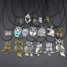"2017 New Fashion Jewelry Vintage Silver Bronze Cute Owl Pendant 17"" Short Children Necklace Free Shipping Owl01"