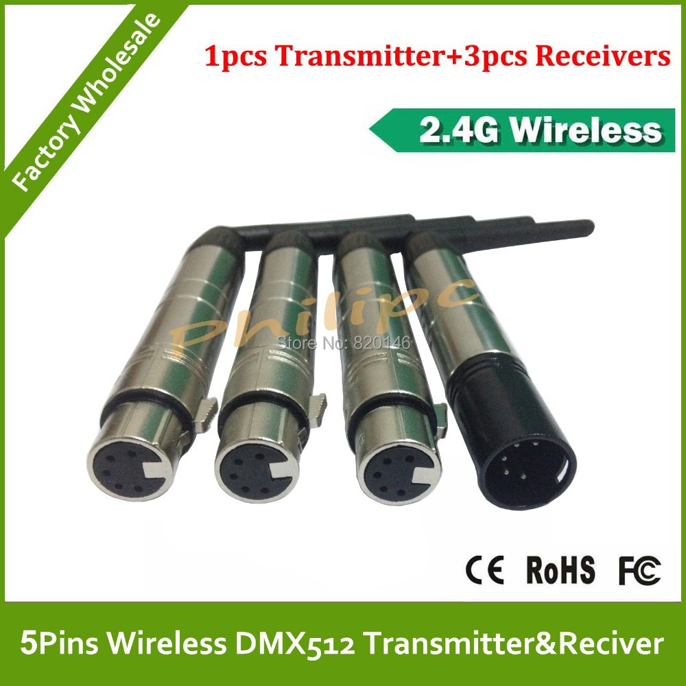 DHL Free Shipping 5 Pins DMX512 Wireless system Receiver or Transmitter DMX Dfi DJ 2.4G cable<br>