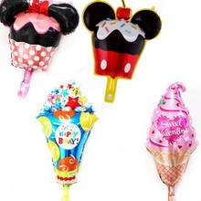 10pcs Happy Birthday Ice Cream Foil Balloons Children Snacks Sweet tube Birthday Gifts Favors party supplies wedding Decorations
