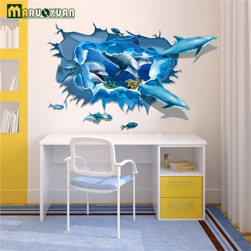 3D Wallpaper Underwater World Dolphin Wall Sticker Art Quote Wall Decals Mural