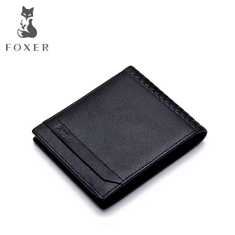 FOXER Brand Genuine Leather Simple Men Purses High Quality Cowhide Youth Soft Wallets<br>