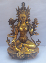 H: 8.5 inch/22CM Old Tibetan Buddhism brass Green Tara God Buddha Statue /sculpture(China)